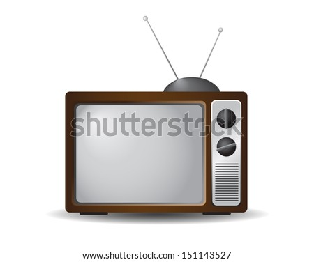Retro tv icon isolated on white background. VECTOR illustration. - stock vector