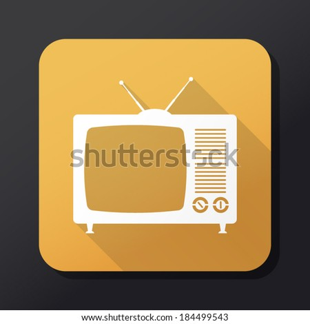 Retro TV icon with long shadow - stock vector