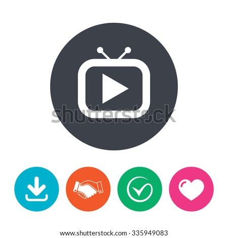 Retro TV mode sign icon. Television set symbol. Download arrow, handshake, tick and heart. Flat circle buttons. - stock vector
