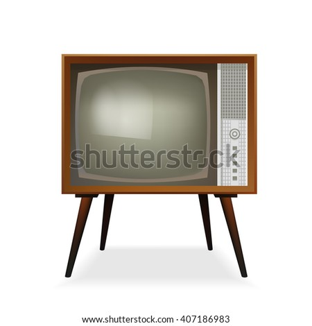 Retro TV. Old Vintage TV Set. Vector Illustration. Isolated On White Background. - stock vector