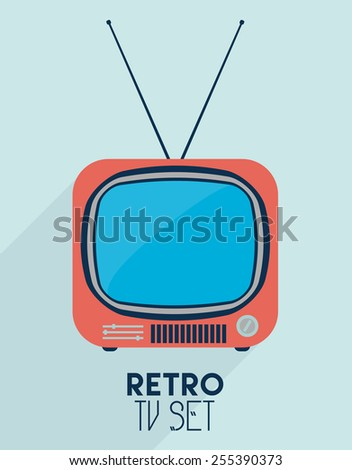 Retro TV set flat style icon - stock vector