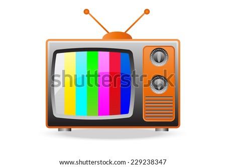 Retro TV Set Icon - stock vector