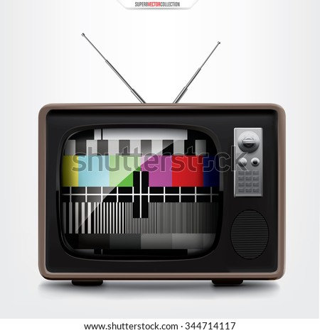 Retro TV set with signal break display. High quality detailed vector illustration. - stock vector
