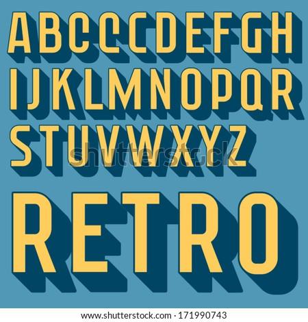 Retro type font, vintage typography - stock vector
