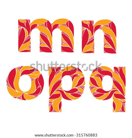 Retro typeface decorated with herbal pattern, floral lowercase letters with orange autumn leaves. Flowery alphabet, m, n, o, p, q. - stock vector