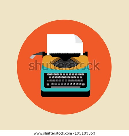 retro typewriter with page on colored background - stock vector