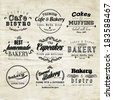 Retro Typography Bakery and Cafe Logo Badge Design - stock vector