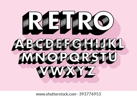 retro typography/font vector/illustration - stock vector