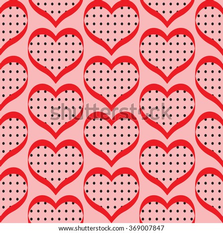 Retro valentine seamless pattern with hearts. seamless pattern of hearts on the pink background - stock vector