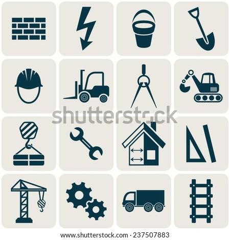 Retro vector abstract construction icons in rounded squares - stock vector