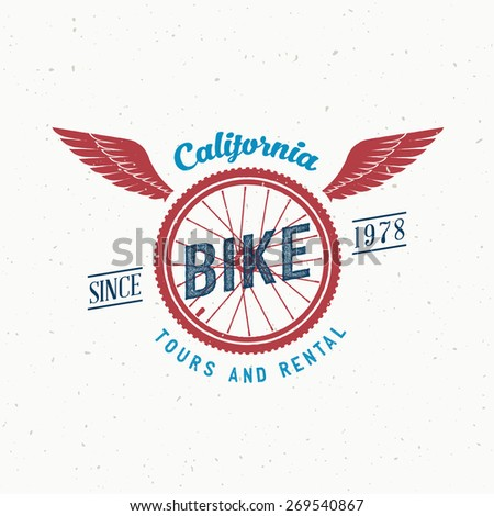 Retro Vector Bicycle Tours and Rental Label or Logo Design with Shabby Texture. Good for T-shirts, Prints, Flayers, etc. - stock vector