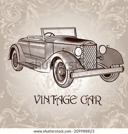 Retro vector card with old-fashioned car - stock vector