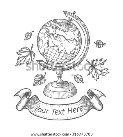 Retro vector doodle of a world globe stand. Autumn doodle icons set, school doodle logo, Sketch globe, autumn leaves and ribbon for your text. Vector illustration isolated on white background - stock vector