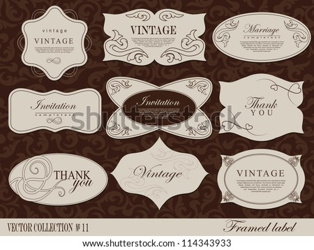 Retro vector  framed label. Design template, card can be used banners, invitation, congratulation, wedding or website layout vector - stock vector
