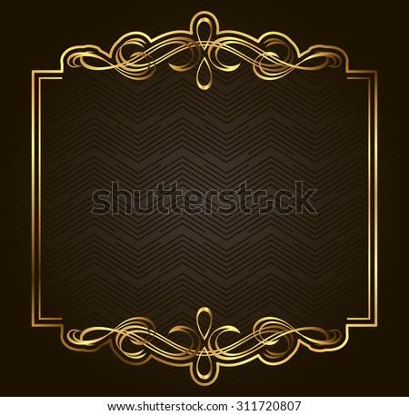 Retro vector gold frame on dark background. Premium design element - stock vector