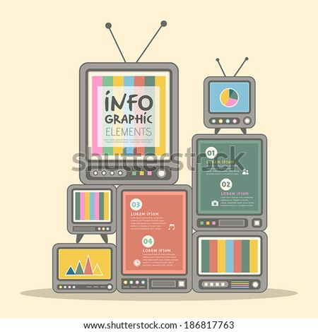 retro vector illustration abstract television wall infographics design - stock vector