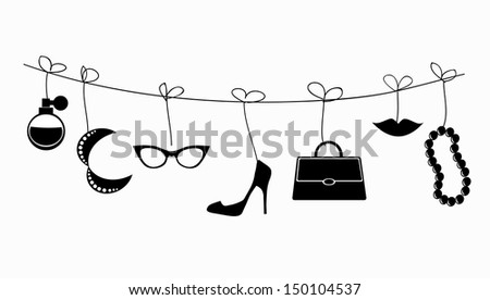 Retro VECTOR illustration - lady's accessories hanging on the strings.  - stock vector