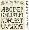 Retro Vector Self Made Font on seamless pattern. fully editable eps 8 file, pattern in swatch menu - stock vector