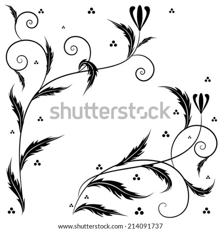 Retro vector set  illustrations with floral ornament for corner design - stock vector