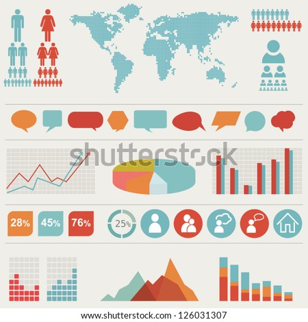 Retro vector set of infographic elements - stock vector