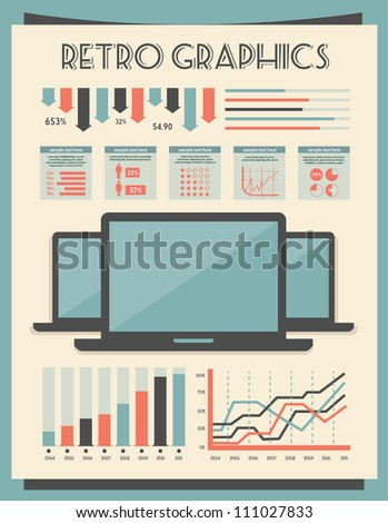 retro vector set of infographic elements for your documents and reports with electric devices - stock vector