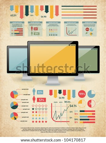 retro vector set of infographic elements for your documents and reports with three glossy monitor screens - stock vector