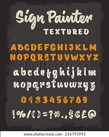 Retro vector 'sign painter' brush script lettering font, handwritten calligraphic alphabet. Textured version - stock vector
