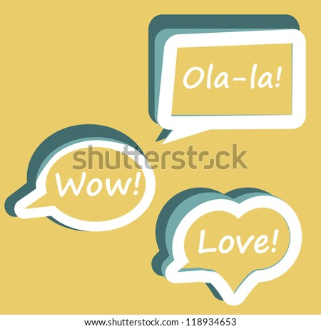Retro Vector speech bubble for dialogue with text Wow love Ola-la easy to change   Orange icons on background - stock vector