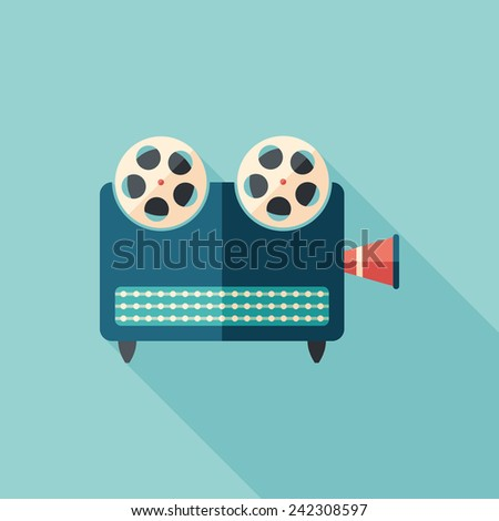 Retro video projector flat square icon with long shadows. - stock vector