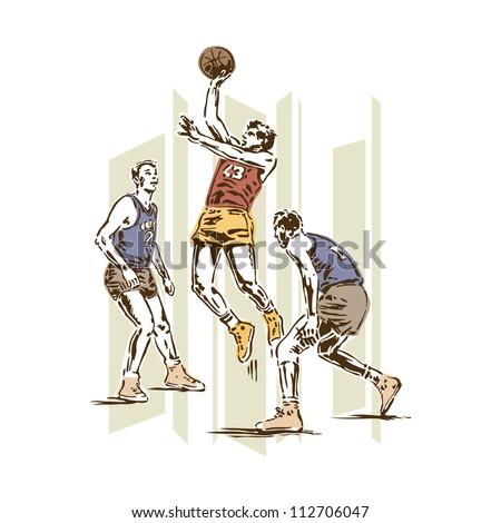 Retro Vintage Basketball Sports Vector - stock vector