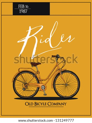 retro vintage bicycle with background - stock vector
