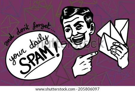 Retro vintage clipart: Spam happens! Excited spammer man gaily reminds you about the junk mail jamming your inbox. - stock vector