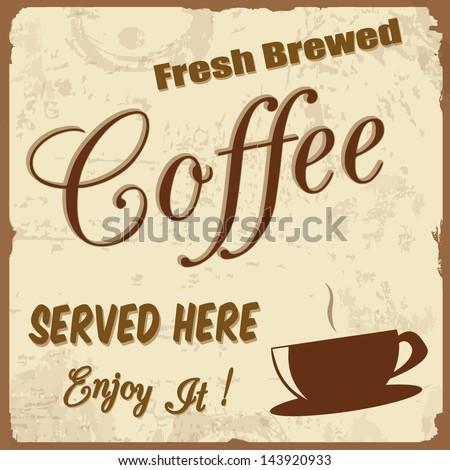 Retro Vintage Coffee Background, vector illustration - stock vector