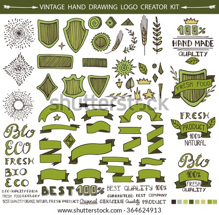 Retro Vintage eco,bio,natural green Labels creator set.Hand drawn Vector design elements,signs,logos,identity,labels,badges,logotypes,stickers and stamps. Original,premium,Best,ecology text. - stock vector