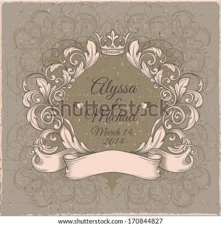 Retro vintage emblem, floral cartouche. Vector vintage border frame engraving with retro ornament pattern in antique rococo style decorative design  - stock vector