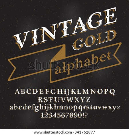 Retro vintage gold alphabet font. Custom type letters and numbers on a dark grunge background. Stock vector typography for labels, headlines, posters etc. - stock vector