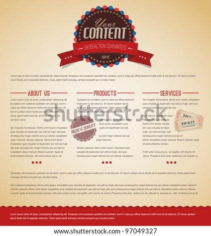 Retro vintage grunge web page template - red version - stock vector