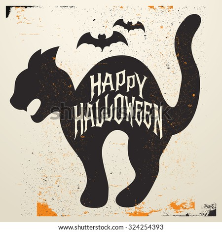 Retro Vintage Halloween Vector Background with Grunge Effect - Trick or Treat - stock vector