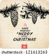 Retro Vintage Hand Drawn Christmas Greeting Card - stock vector