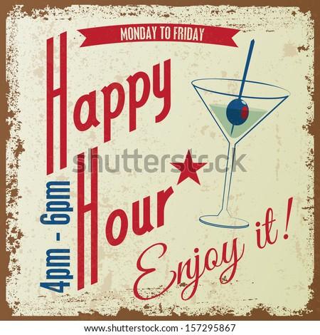 Retro Vintage Happy Hour drink Typographical background, Vector design - stock vector