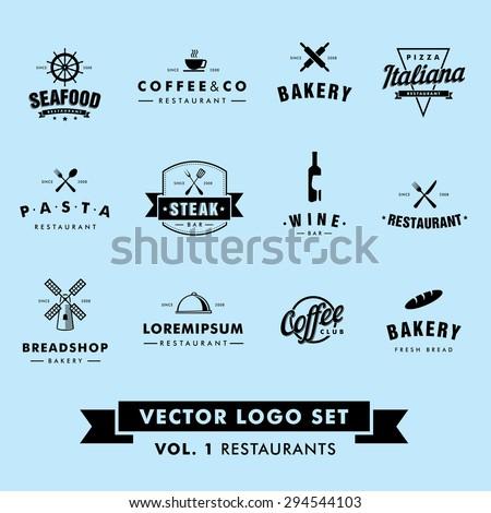 Retro Vintage Hipster Restaurant Vector Logo Set.  - stock vector