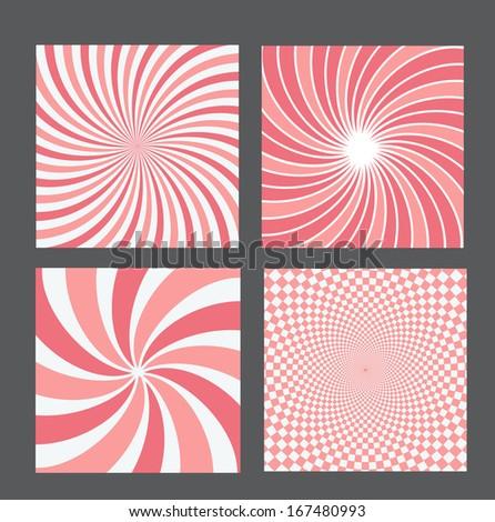 retro vintage hypnotic background set. vector illustration - stock vector