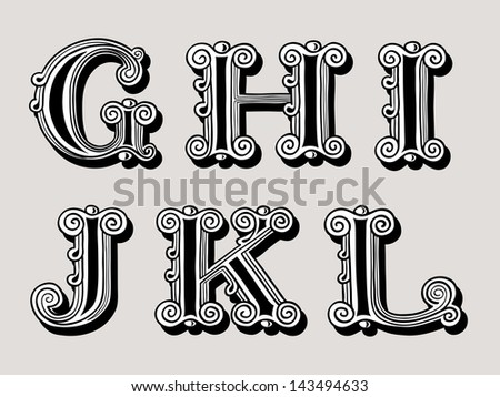 Retro vintage illustration of alphabet letters in caps, the G, H, I, J, K and L in the antiqua design in black and white over a sepia background - stock vector