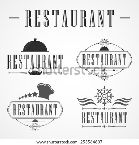 Retro Vintage Insignias or Logotype Vector design element, business sign restaurant template. - stock vector