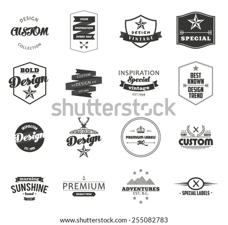 Retro Vintage Insignias or Logotypes set. Vector design elements, business signs, logos, identity, labels, badges and objects, hipster icon design. - stock vector