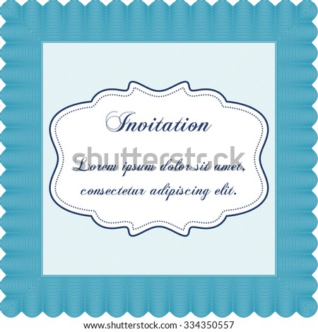 Retro vintage invitation. Sophisticated design. With guilloche pattern. Detailed. - stock vector