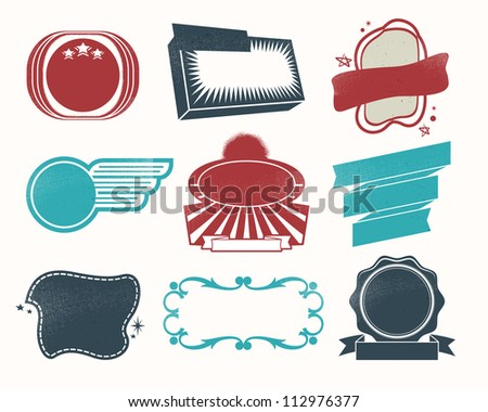 Retro vintage labels and badges for web and print - stock vector