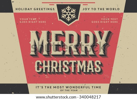 Retro Vintage Merry Christmas Background for Greeting Card, Poster, Label and Other Decoration Surface with Typographic Elements  - stock vector