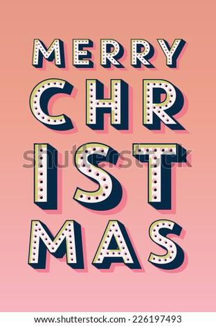 Retro Vintage Merry Christmas Greeting Card - stock vector
