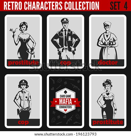 Retro vintage people collection. Mafia noir style. Prostitutes, Cops, Doctor.  Professions silhouettes. - stock vector